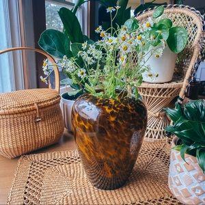 Vintage Glass Tortoise Shell Pattern Large Vase